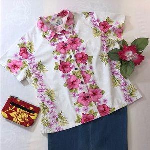 HO ALOHA Blouse Hibiscus Plumeria Coconut Buttons
